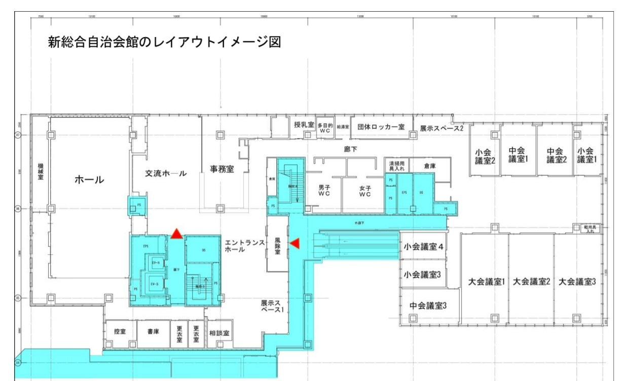 新たな川崎市総合自治会館の平面図