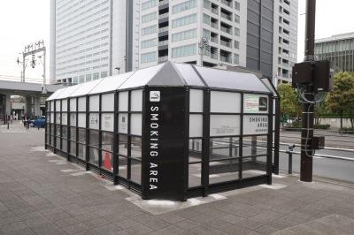 すでに供用再開された武蔵小杉駅の指定喫煙場所