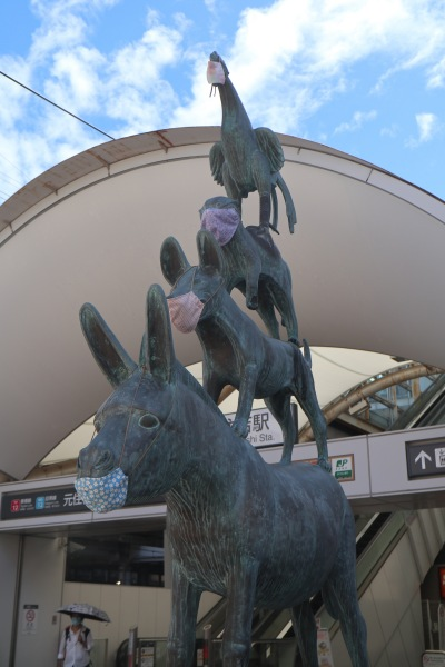東急元住吉駅前の「ブレーメンの音楽隊像」