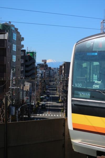 南武線と富士山