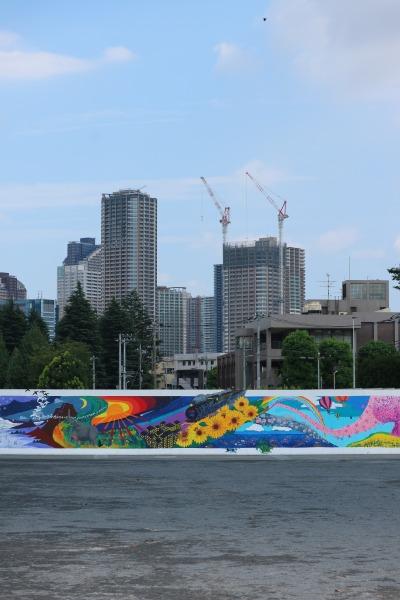 宮内中学校60周年記念壁画「四季の風 黒猫の散歩」