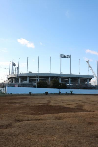 等々力緑地で建設が進む硬式野球場